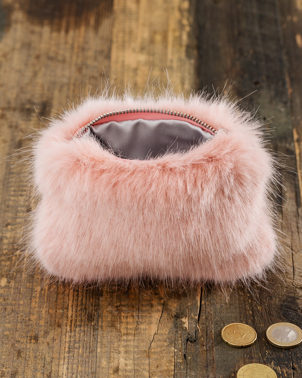 Faux Fur Coin Purse in Dusky Pink
