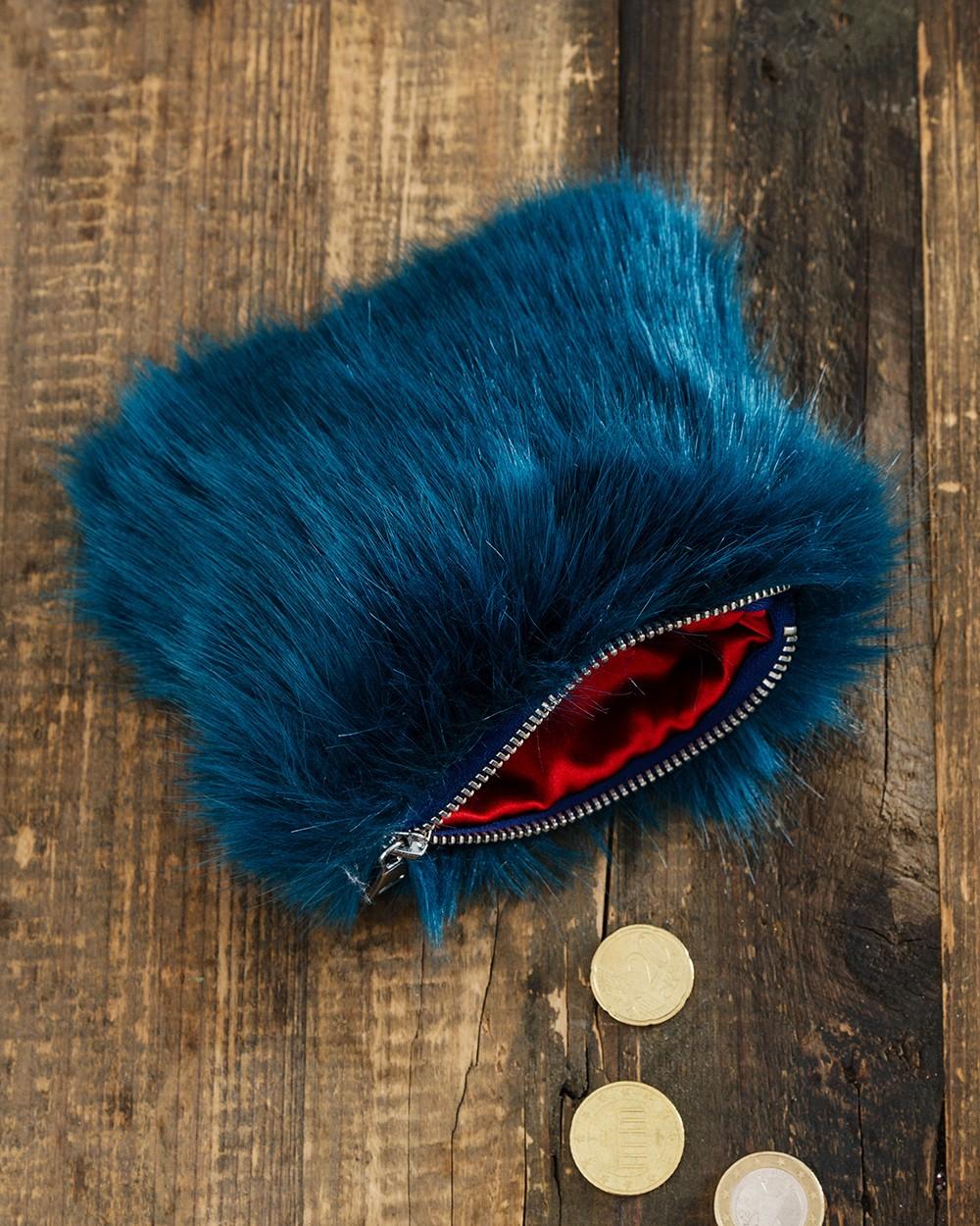 Faux Fur Coin Purse in Blue