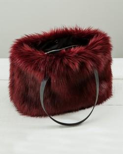 Faux Fur Kersey Bag in Burgundy