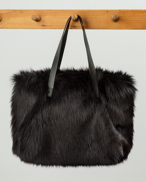Faux Fur Kersey Bag in Ebony
