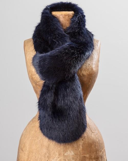 Faux Fur Loop Scarf in Midnight Blue