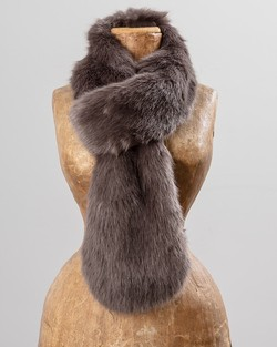Faux Fur Loop Scarf in Steel Grey