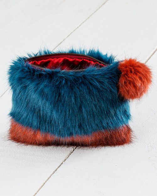 Two Tone Faux Fur Clutch