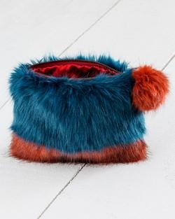 Two Tone Faux Fur Clutch