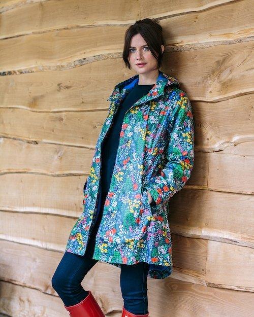Hoodie Rain Mac in Meadow Print