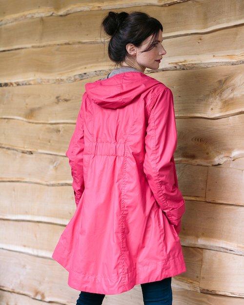 Hoodie Rain Mac in Raspberry