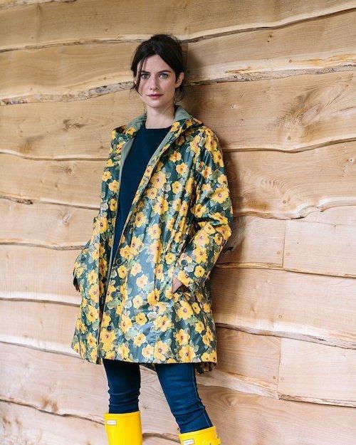 Hoodie Rain Mac in Sunflower Print