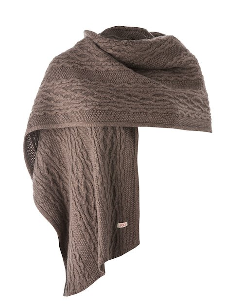 Kerry Wide Cable Knit Stole in Mink