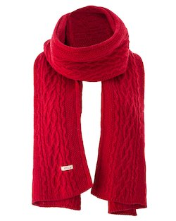 Kerry Wide Cable Knit Stole in Red