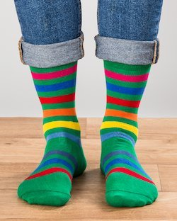 Green Rainbow Stripe Socks