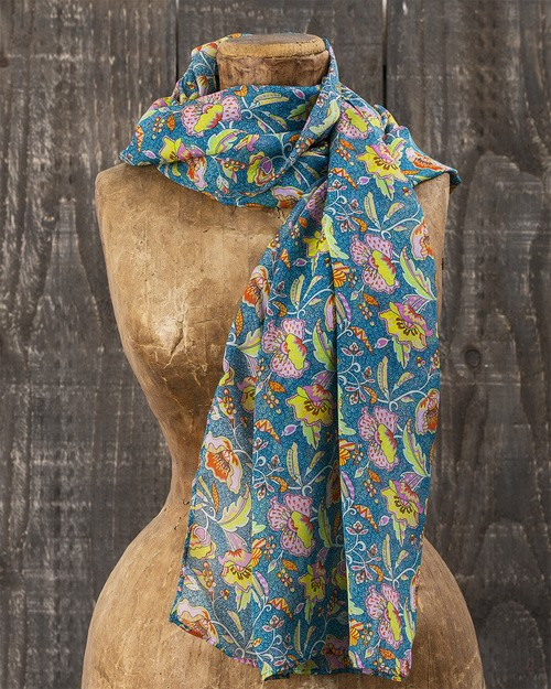 Liberty Print Chiffon Scarf in Poppyseed Dreams Print