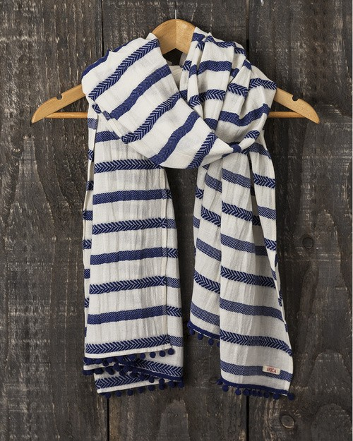Trouillet Scarf in Royal Herringbone