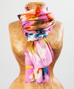 Dahlia Borders Silk Scarf