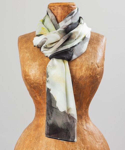 White Camelias Silk Scarf
