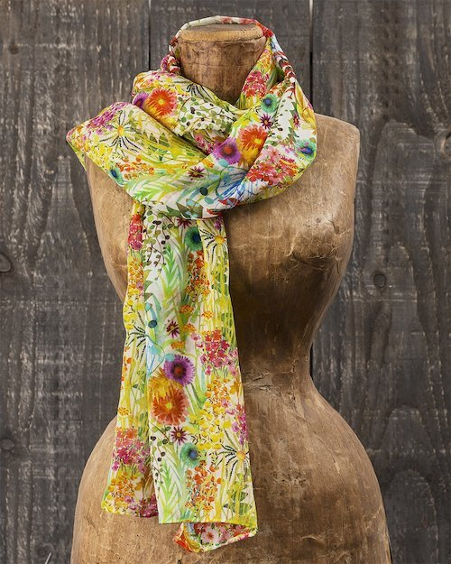 Liberty Print Chiffon Scarf in Tresco
