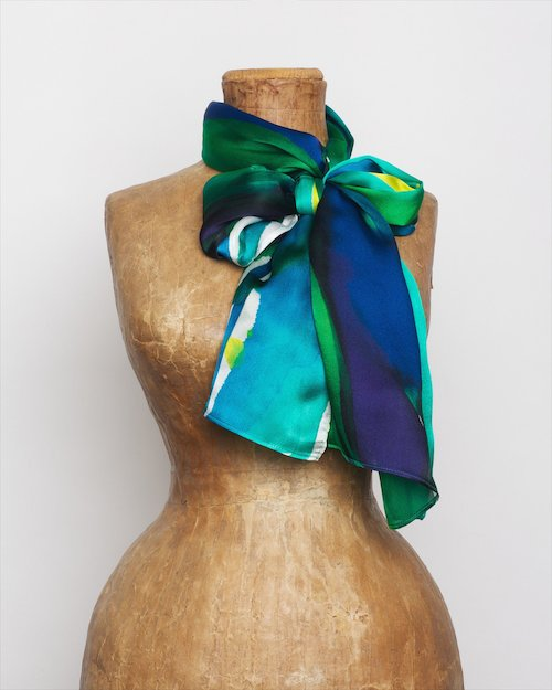 Iris Border Silk Scarf