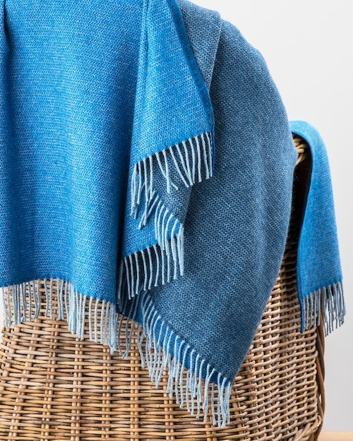 Stella Cashmere Blend Throw in Lusi Blue