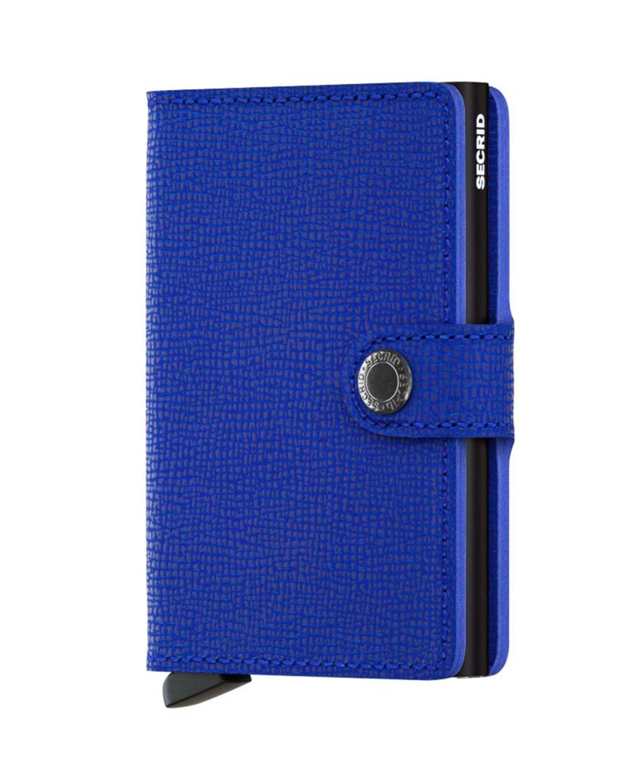 Crisple Leather Mini Wallet - Blue & Black