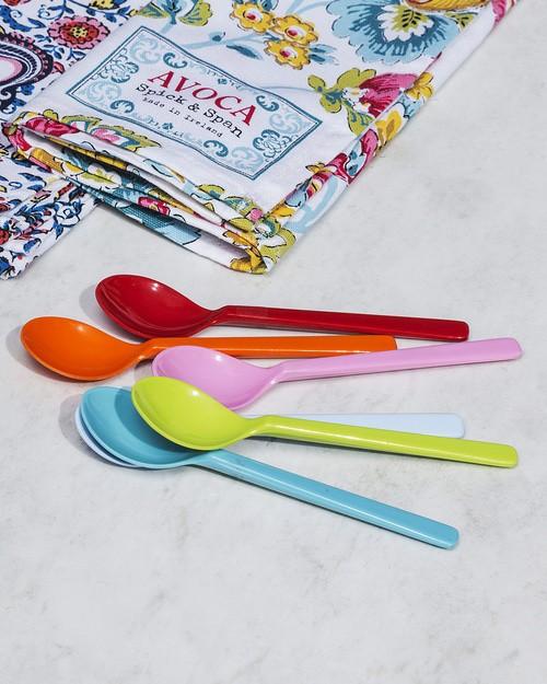 Set of Multi-Coloured Plastic Teaspoons