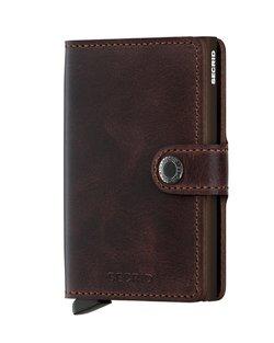 Vintage Leather Mini Wallet - Chocolate