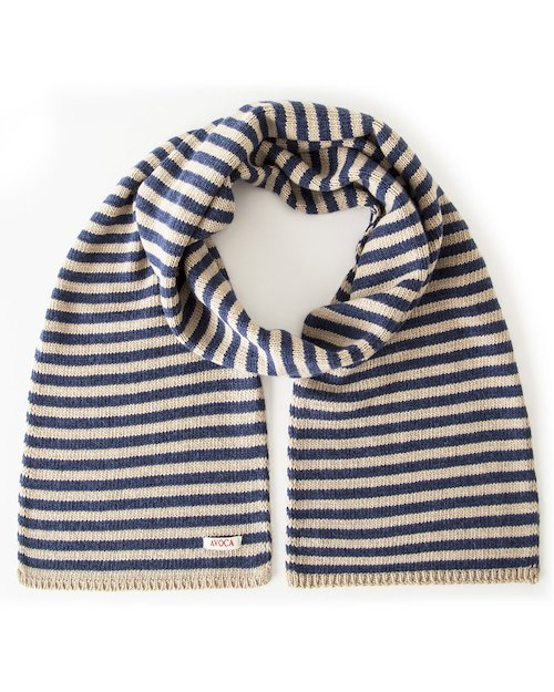 Park Cashmere Wool Blend Knitted Scarf in Camel & Navy