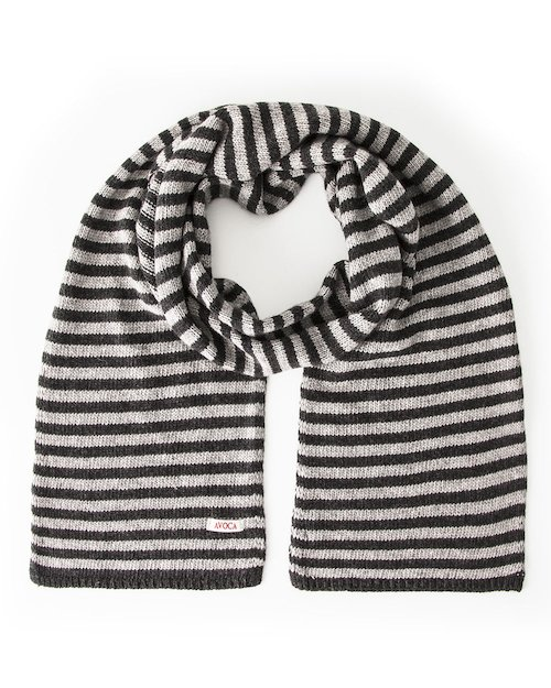 Park Cashmere Wool Blend Knitted Scarf in Grey & Black