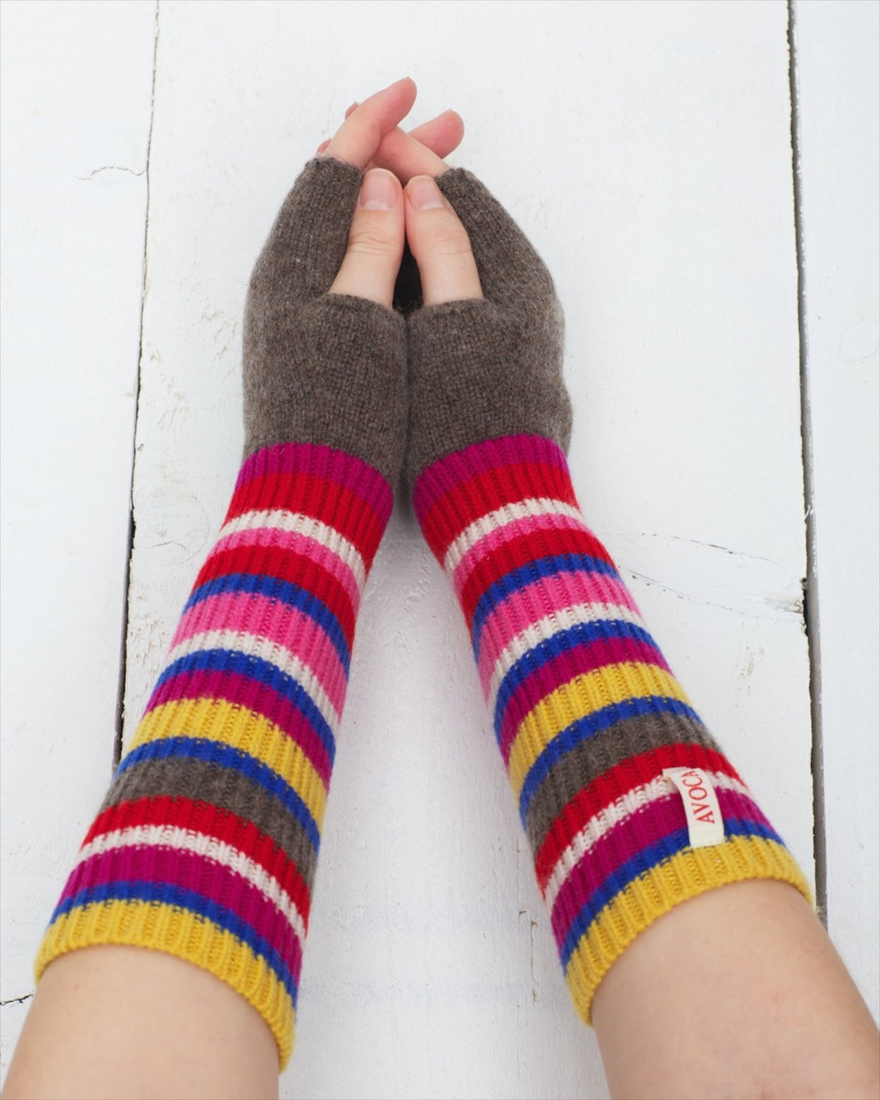 Cashmere Blend Centre Stripe Cuffs