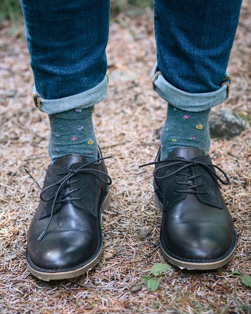 Men's Floral Socks in Grey