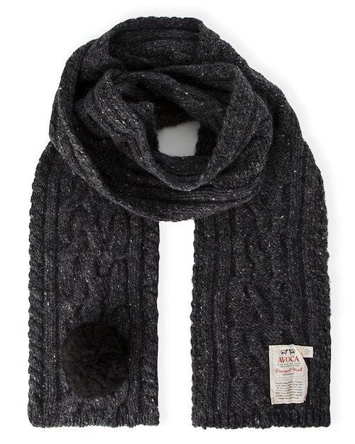 Donegal Bobble Scarf in Grey Black