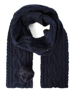 Donegal Bobble Scarf in Navy