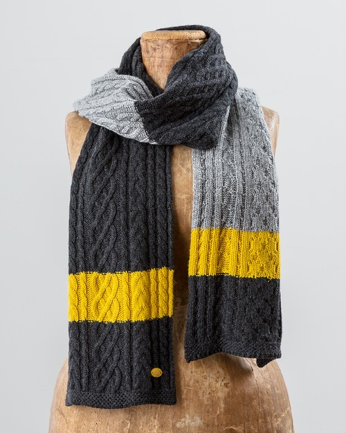 Striped Aran Knit Scarf in Grey and Yellow