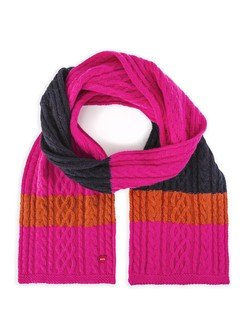 Striped Aran Knit Scarf in Navy and Pink