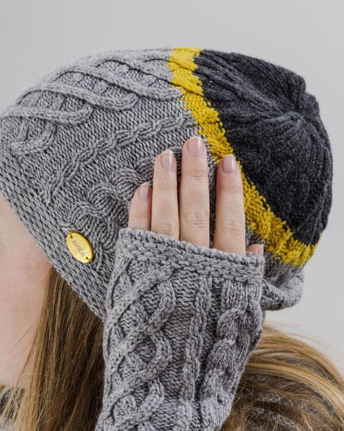Aran Knit Beanie in Grey and Lime