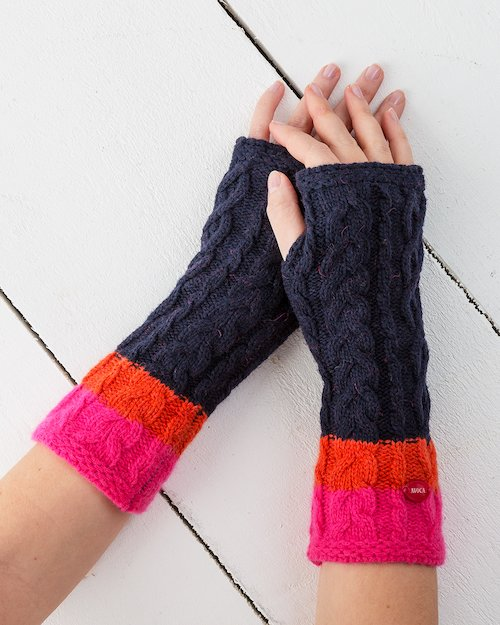 Aran Knit Cuffs in Navy and Neon