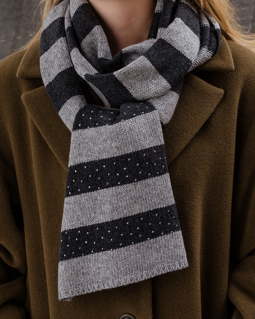 Sparkle Stripe Scarf in Grey and Dark Grey