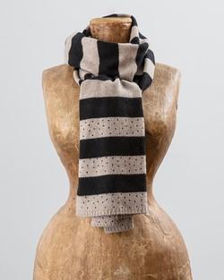 Sparkle Stripe Scarf in Camel and Black