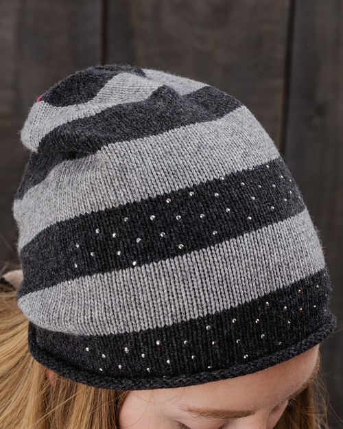 Sparkle Stripe Beanie in Grey and Dark Grey