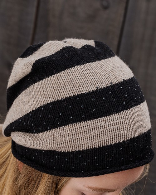 Sparkle Stripe Beanie in Camel and Black