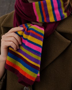 Jewel Stripe Scarf in Wine