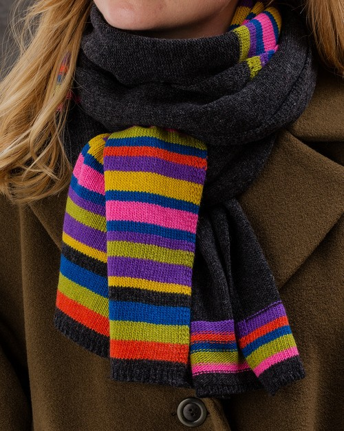 Jewel Stripe Scarf in Grey