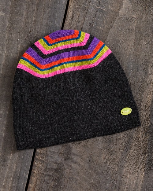 Jewel Stripe Beanie in Grey