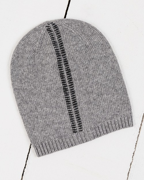 Blanket Stitch Beanie in Grey