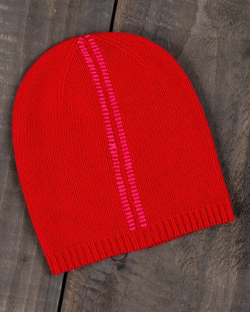 Blanket Stitch Beanie in Red