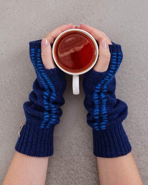 Blanket Stitch Cuffs in Navy