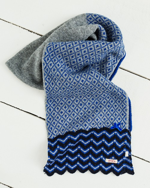 Fair Isle Scarf in Royal Blue