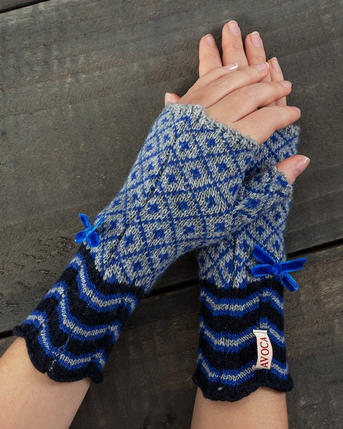 Fair Isle Cuffs in Royal Blue