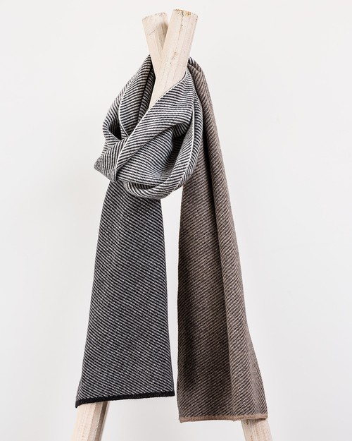 Grey Block Stripe Scarf