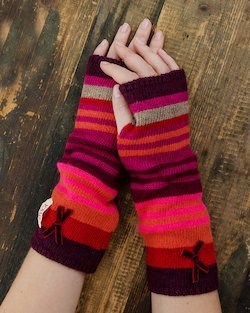 Stripy Gloves in Plum