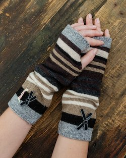 Stripy Cuffs in Black, Grey and Tan