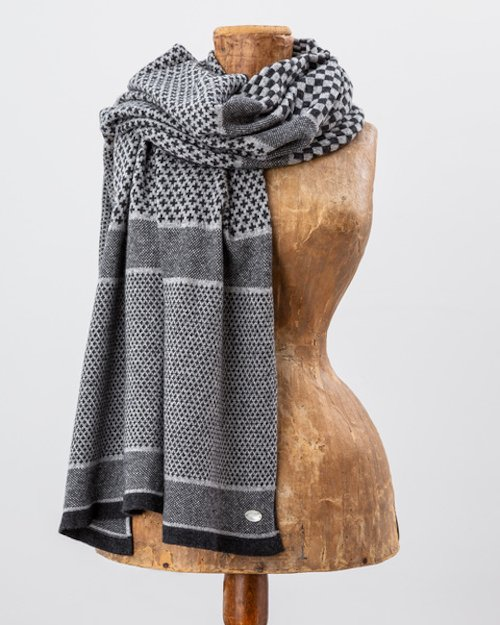 Grey Cashmere Blend Scarf